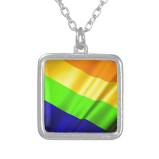 Lgbt Gay Flag Symbol Pride Rainbow Lesbian Love Silver Plated Necklace