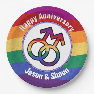 LGBT Gay Pride Male Gender Symbol 9 Inch Paper Plate