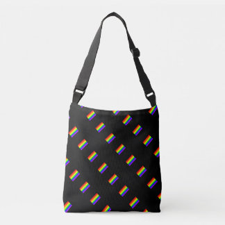 LGBT Gay Pride Rainbow Flag Pattern On Black! Crossbody Bag
