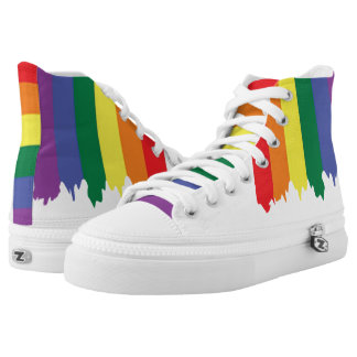 LGBT Gay Pride Rainbow Running Paint High Tops