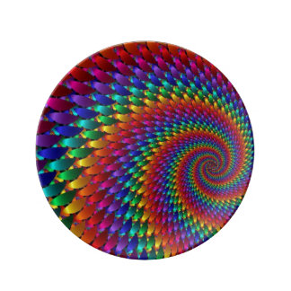 LGBT Gay Pride Rainbow Spiral Fractal Infinity! Plate