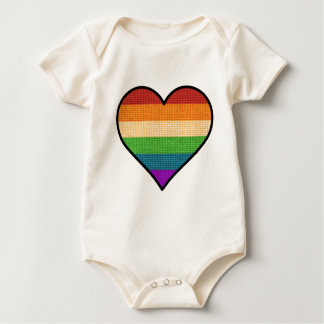 LGBT Love is Love Rainbow Heart Baby Bodysuit