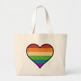 LGBT Love is Love Rainbow Heart Large Tote Bag