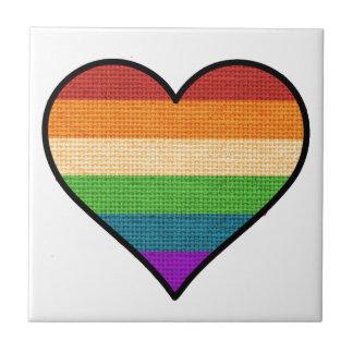 LGBT Love is Love Rainbow Heart Tile