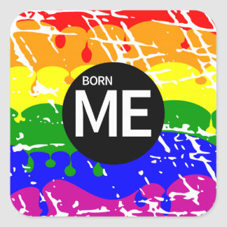 LGBT Pride Flag Dripping Paint Born Me Stickers