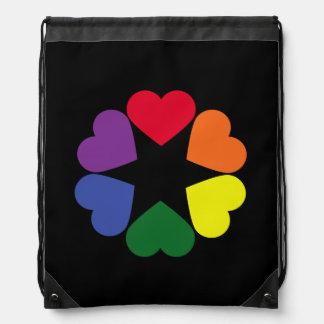 LGBT pride hearts Drawstring Bag
