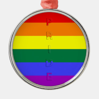 LGBT Pride Rainbow Flag Silver-Colored Round Ornament