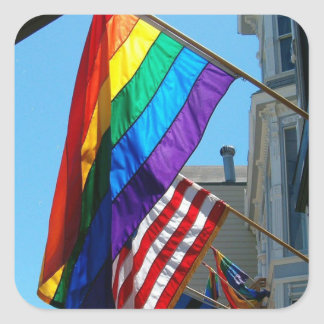 LGBT Rainbow and American Flags Stickers