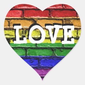 LGBT Rainbow Brick Wall Love Heart Stickers