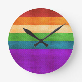 LGBT Rainbow Burlap Clocks