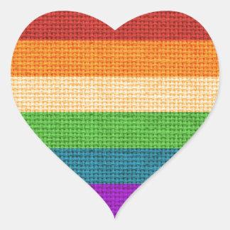 LGBT Rainbow Burlap Heart Sticker