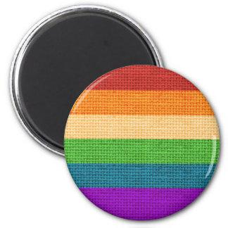 LGBT Rainbow Burlap Magnet