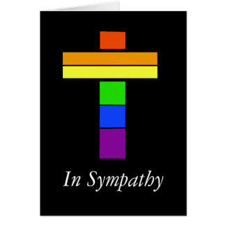 LGBT Rainbow Flag Cross Sympathy Card