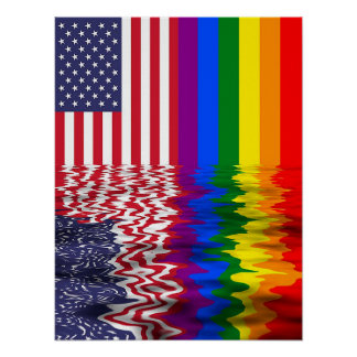 LGBT Rainbow Flag Reflection Rally Banner Poster