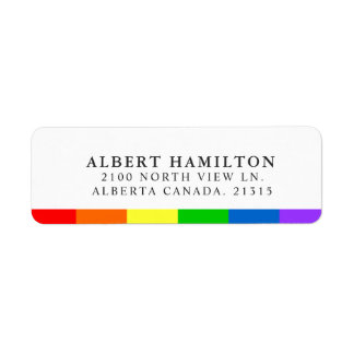 LGBT Rainbow Flag Stripe   Return Address Return Address Label