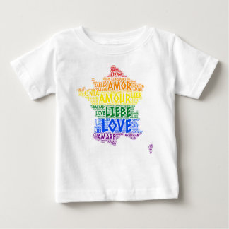 LGBT Rainbow France Map illustrated with Love Word Baby T-Shirt