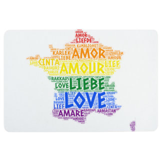 LGBT Rainbow France Map illustrated with Love Word Floor Mat