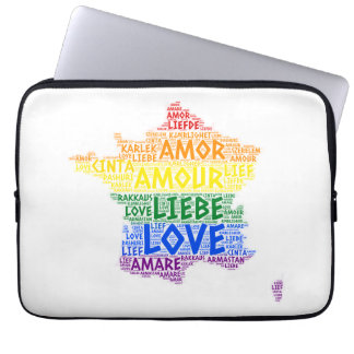 LGBT Rainbow France Map illustrated with Love Word Laptop Sleeve