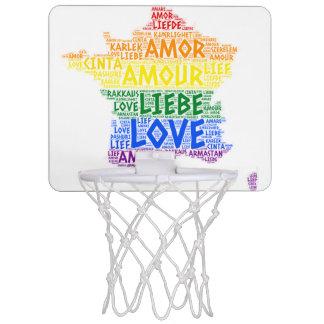 LGBT Rainbow France Map illustrated with Love Word Mini Basketball Hoop