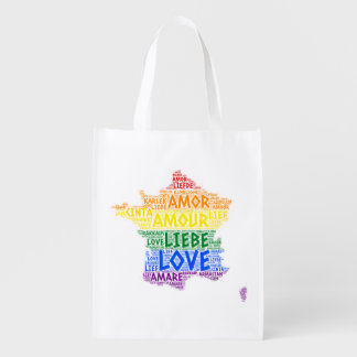 LGBT Rainbow France Map illustrated with Love Word Reusable Grocery Bag