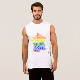 LGBT Rainbow France Map illustrated with Love Word Sleeveless Shirt