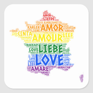 LGBT Rainbow France Map illustrated with Love Word Square Sticker