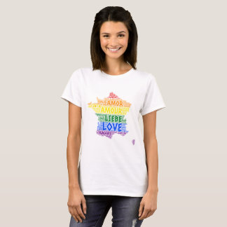 LGBT Rainbow France Map illustrated with Love Word T-Shirt