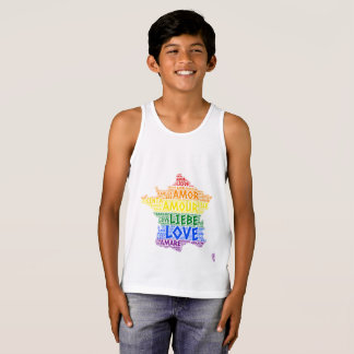 LGBT Rainbow France Map illustrated with Love Word Tank Top