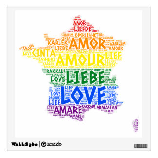 LGBT Rainbow France Map illustrated with Love Word Wall Sticker