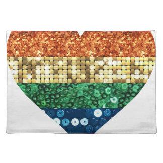 lgbt rainbow heart placemat