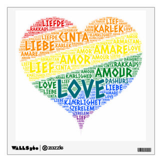 LGBT Rainbow Hearth Flag illustrated with Love Wall Decal
