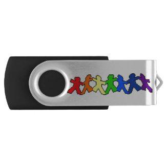 LGBT Rainbow Paper Dolls USB Drive Swivel USB 2.0 Flash Drive
