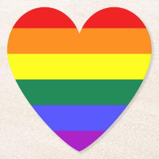 LGBT Rainbow Pride Flag Paper Heart Coasters