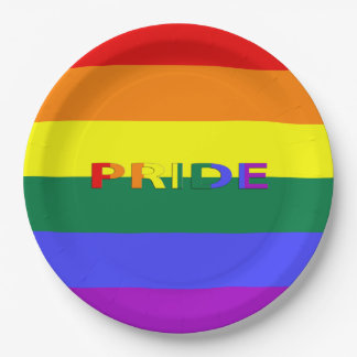 """LGBT Rainbow Pride Flag & Word 9"""" Paper Plates 9 Inch Paper Plate"""