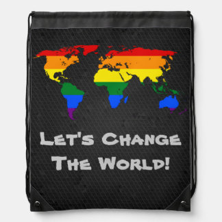 LGBT rainbow pride world map Backpack