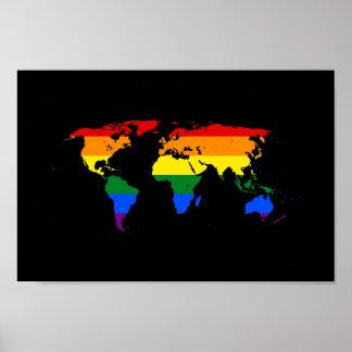 LGBT rainbow pride world map Poster