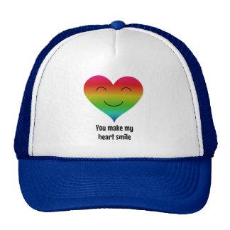 LGBT rainbow you make my heart smile Cap