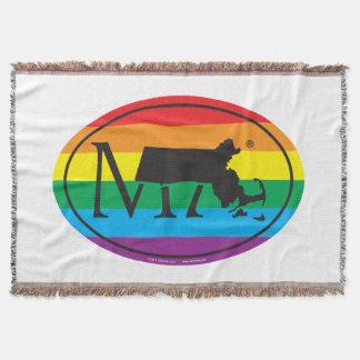 LGBT State Pride Euro: MA Massachusetts Throw Blanket