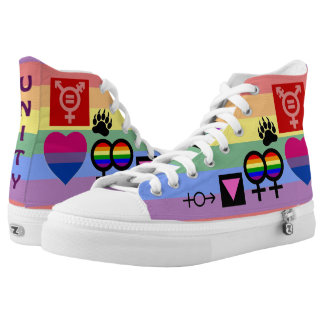 Lgbt Unity Collage 2-sided Faded Rainbow Hi-Top