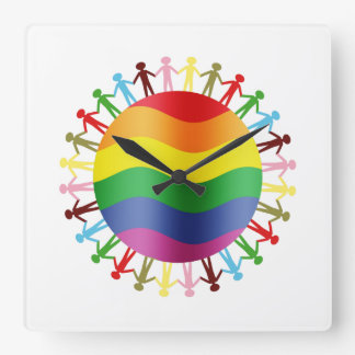 LGBT World Harmony Square Wall Clock