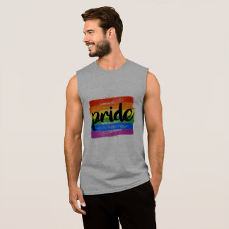 LGBTQ PRIDE CALLIGRAPHY - PAINTED LGBTQ PRIDE FLAG SLEEVELESS SHIRT