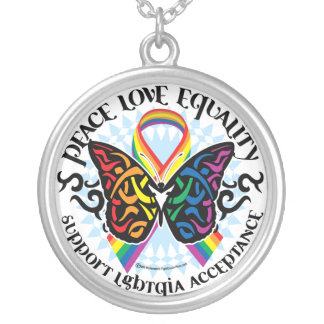 LGBTQIA Butterfly Tribal Silver Plated Necklace