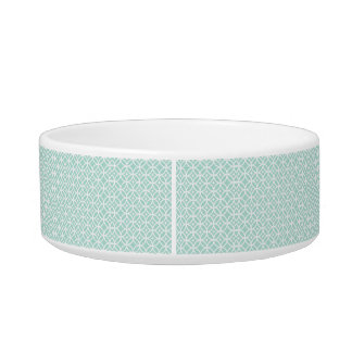 Lght Blue and White Circle and Star Pattern Pet Food Bowls