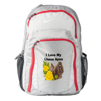 Lhasa Apso and Yellow Roses Backpack