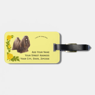 Lhasa Apso and Yellow Roses Luggage Tag