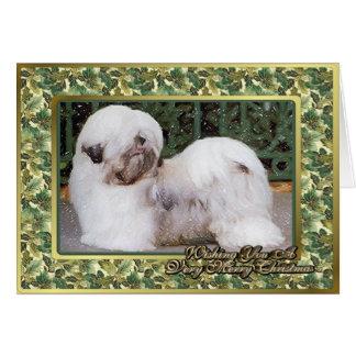 Lhasa Apso Dog Blank Christmas Card