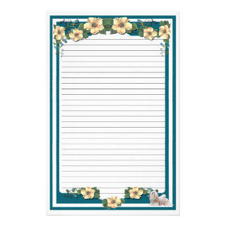 Lhasa Apso on Dark Turquoise Floral [lined] Stationery