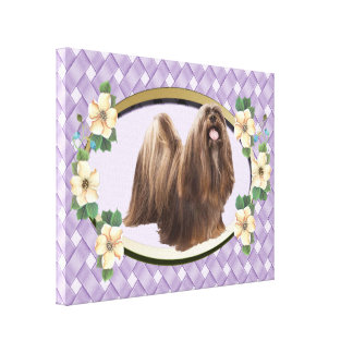 Lhasa Apso on Lavender Weave Oval with Flowers Canvas Print