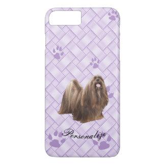 Lhasa Apso on Lavender Weave with pawprints iPhone 8 Plus/7 Plus Case