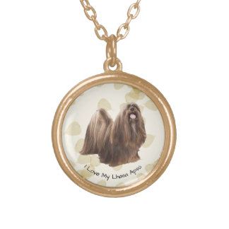 Lhasa Apso on Tan Leaves Gold Plated Necklace
